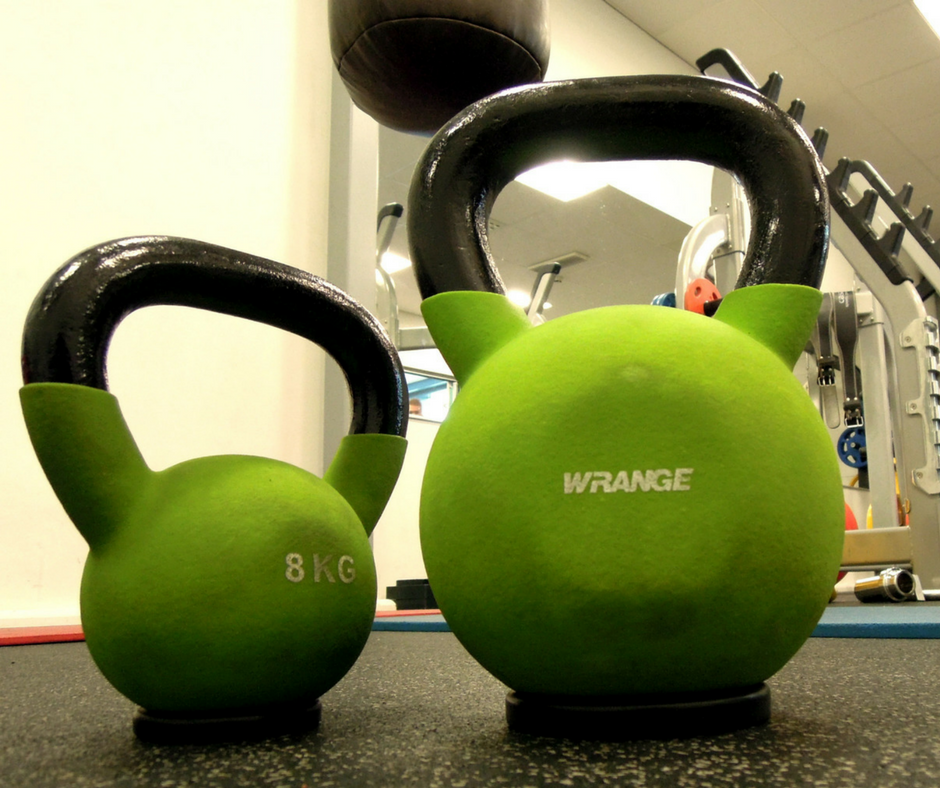 two green kettlebells