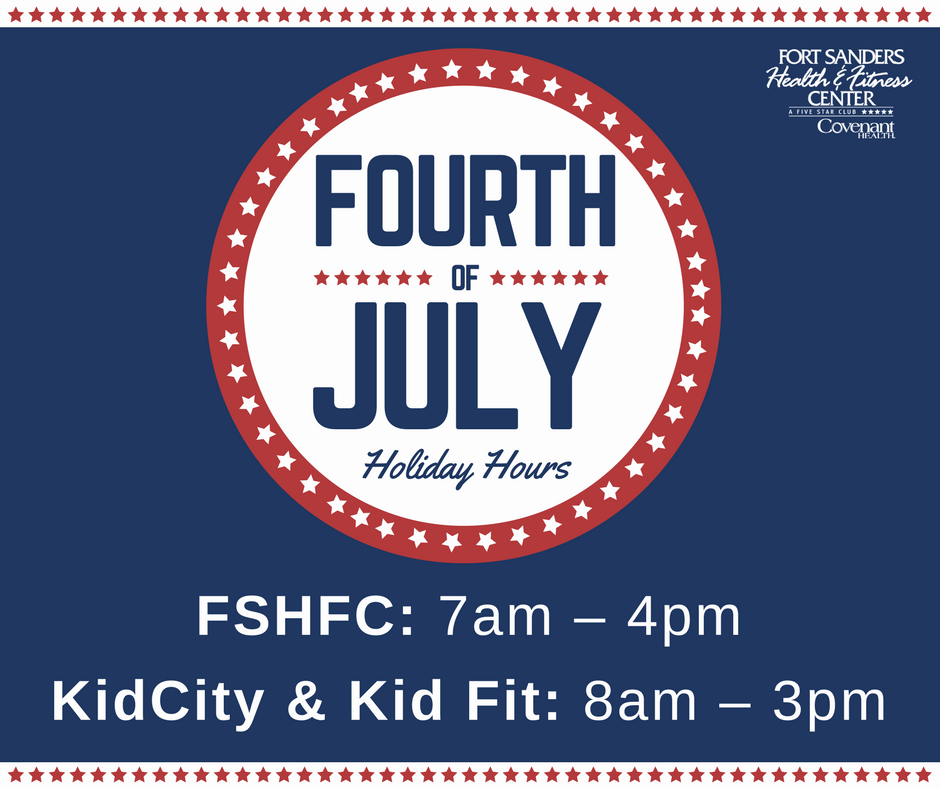 red white and blue design with holiday hours displayed