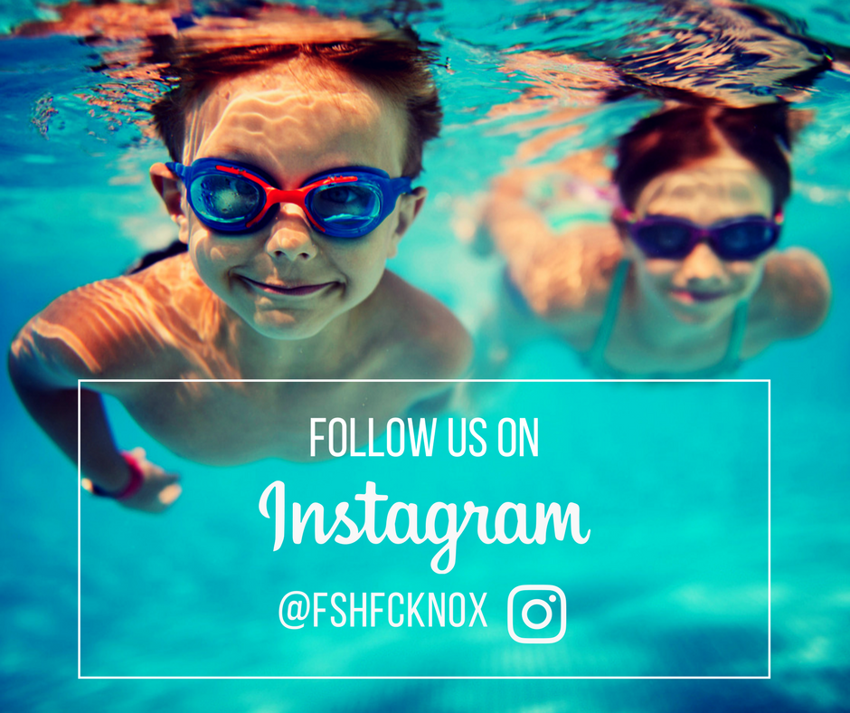 photo of young boy and girl swimming with the following wording: follow us on instagram @fshfcknox