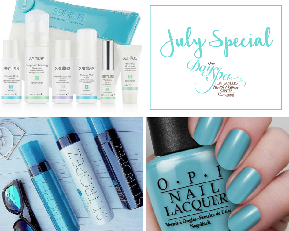 day spa special july image of hand holding nail polish, st tropez sunless tan bottles and sanitas skincare products