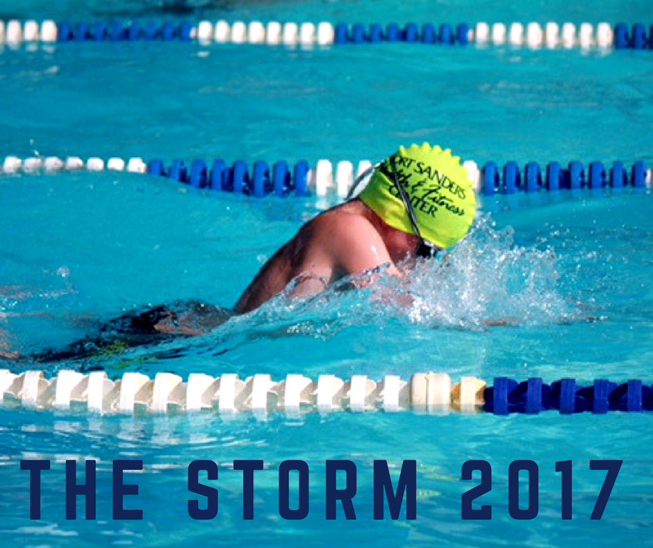 storm swim team member swimming in pool