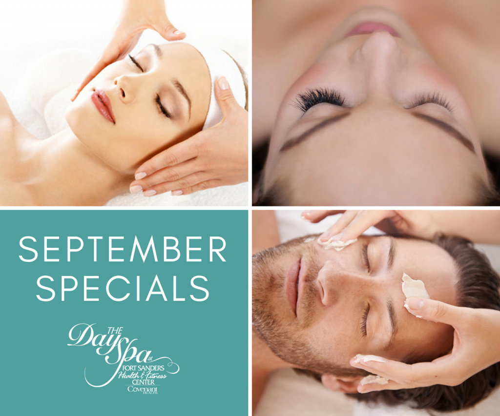 Day Spa promo with a man and woman getting a spa facial and woman with her eyes closed showing off her eyelash extensions