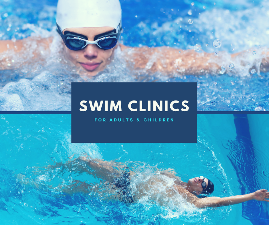 FSHFC Swim Clinics - Two images of people swimming laps in the pool