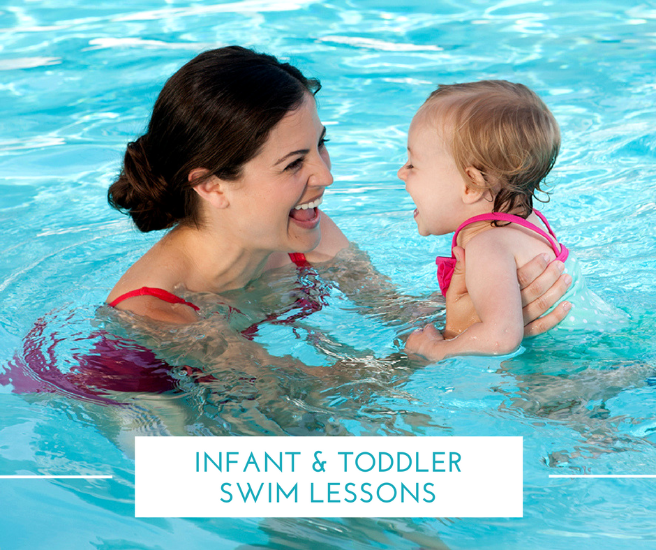 Infant Toddler Swim Lessons - mom and young baby in swimming pool