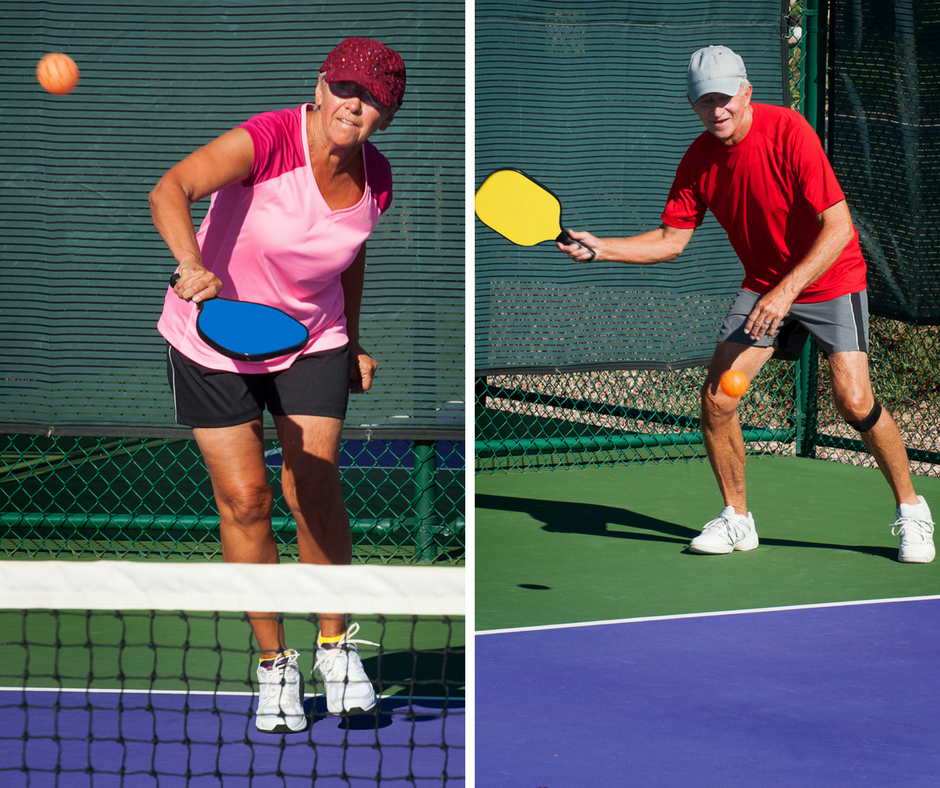 Senior Man & Woman Playing Pickleball