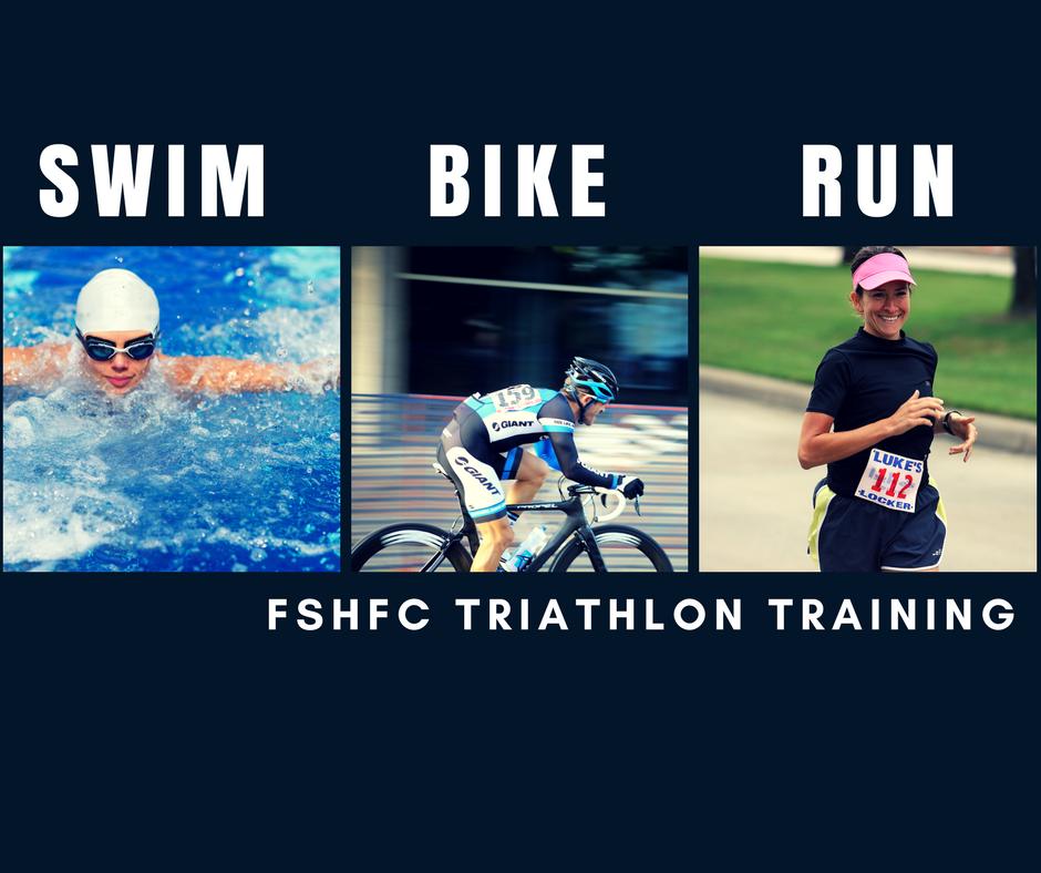 FSHFC Triathlon Training Program woman swimming in pool, man riding a bike and a girl running a race