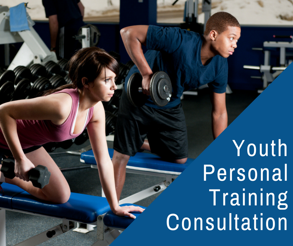 Youth Personal Training Consultation - teenage boy and girl using hand weights at gym