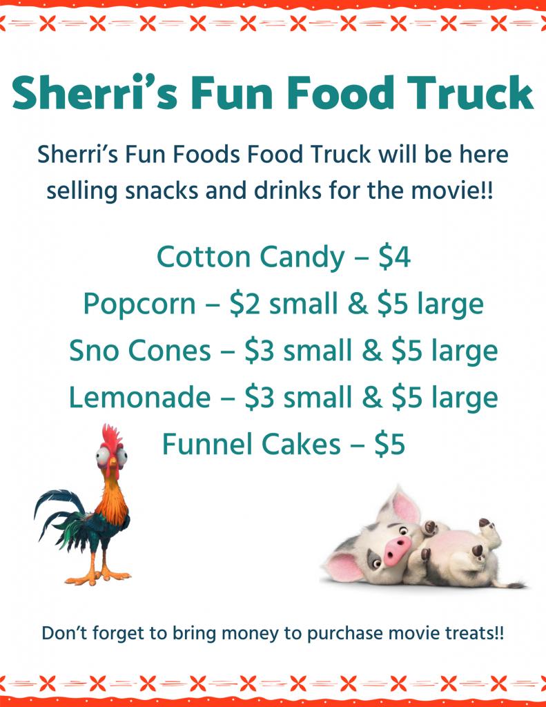 Dive-In Movie Moana - Sherri's Fun Food Truck Menu