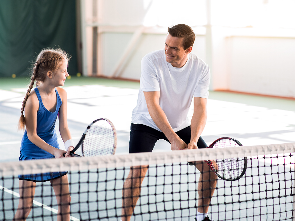 father and daughter tennis